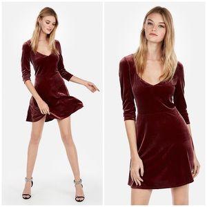 Wine Red Long-Sleeve Velvet Fit and Flare Dress